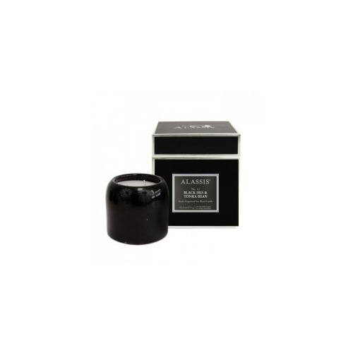 Alassis No.12 Black Iris & Tonka Bean Large Double Wick Round Candle