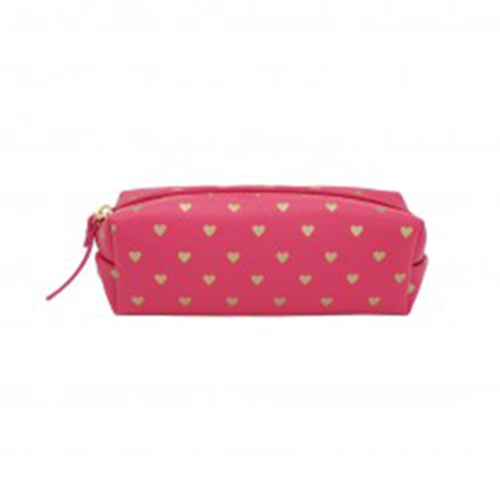 Bisous Gold Heart Tube Case Fuchsia