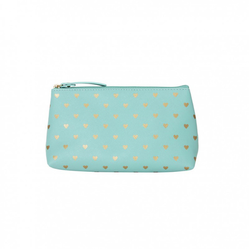 Bisous Gold Heart Make Up Bag Mint