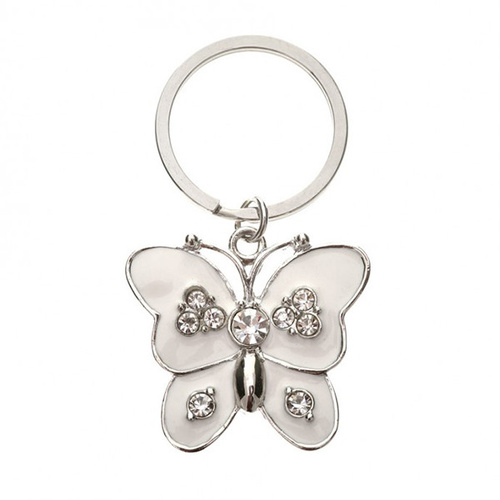 Bombay Duck White Butterfly Keyring