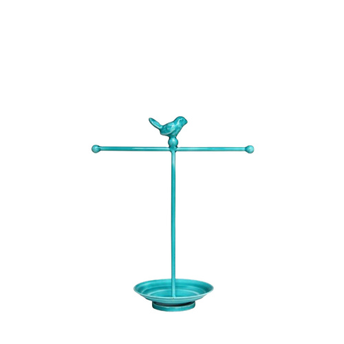 Bombay Duck Glazed Jewellery Stand - Bird One Tier Turquoise