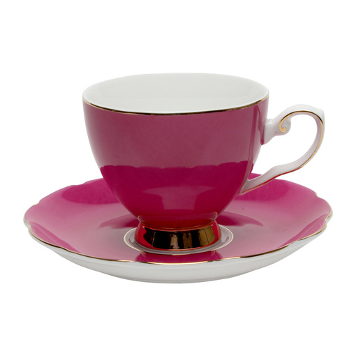 Bombay Duck Miss Evelyn Cup & Saucer Fuschia