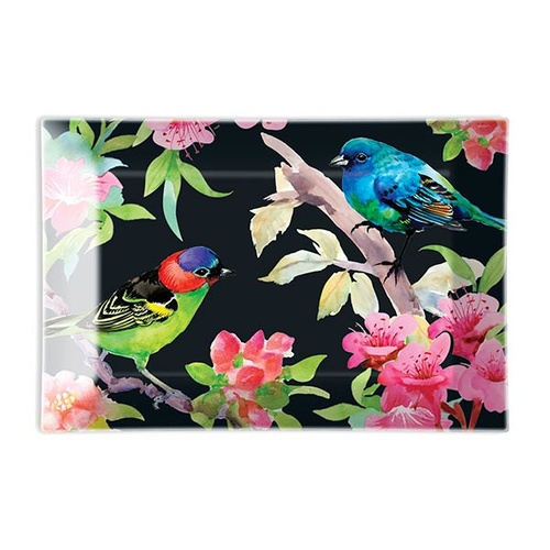 MDW Glass Rectangle Soap Dish - Bird Song