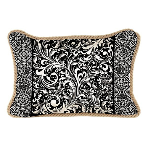Michel Design Works Decorative Pillow Rectangle - Black Florentine