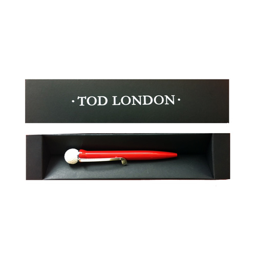 Tod London Golf Ball Pen Red in a Black Gift Box