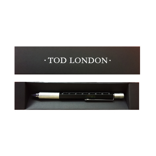 Tod London Level Pen Black with Ruler and Mini- Screwdriver