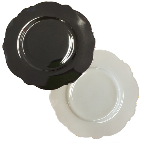 Blue Cadeaux Set of 2 Plates Black & White