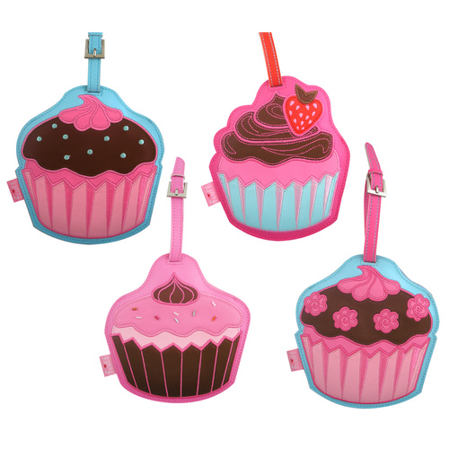 Fluff Luggage Tags Cup Cakes - Set of 4