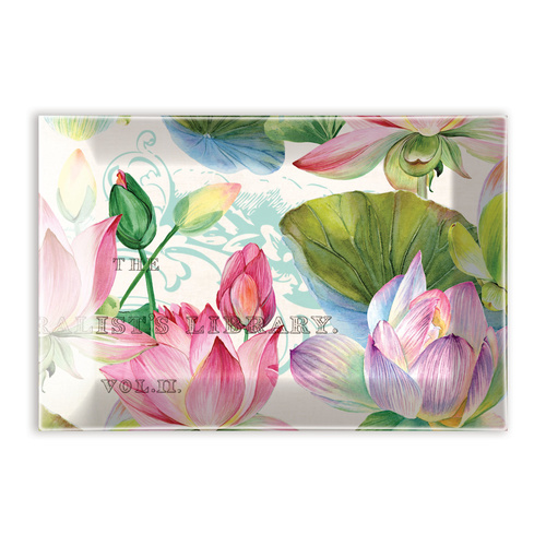 *Glass Rectangle Soap Dish Water Lilies Michel Design Works