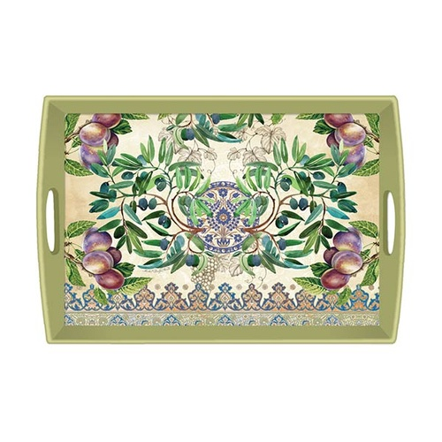 *Wooden Decoupage Large Tray Tuscan Grove Michel Design Works