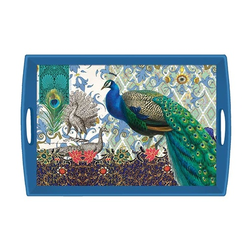 MDW Wooden Decoupage Large Tray - Peacock